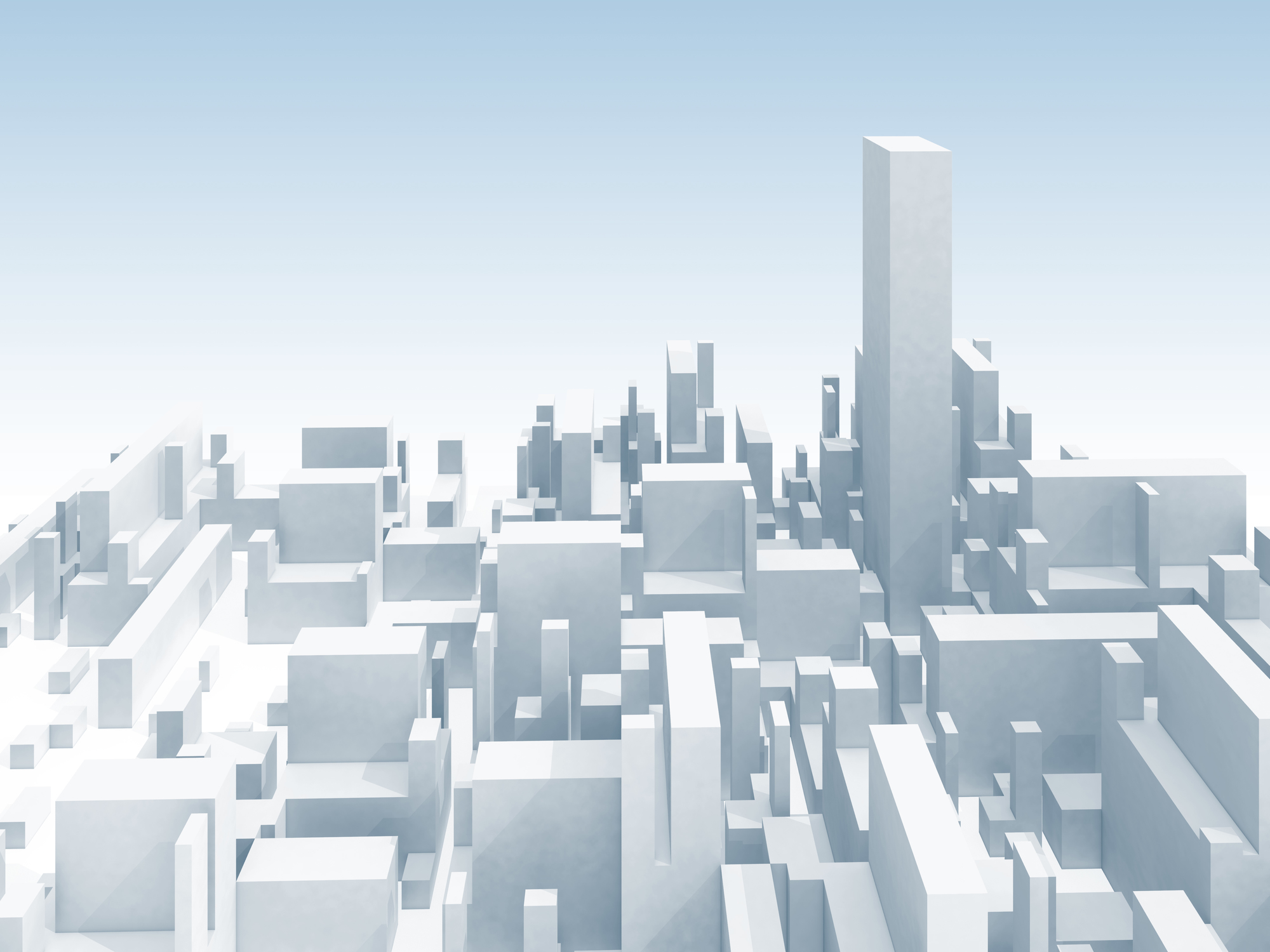 Abstract schematic white 3d cityscape skyline with one the highest skyscraper