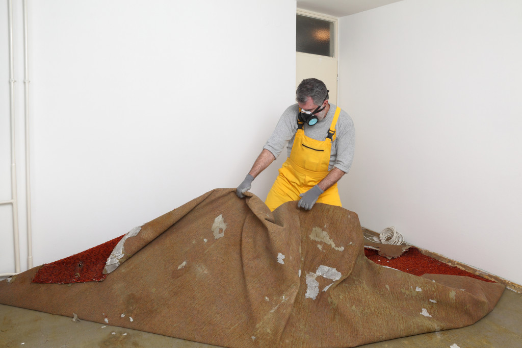 Adult worker with protective mask removing old carpet in room